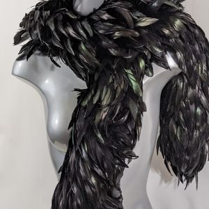 Iridescent Black Rooster Feather Scarf